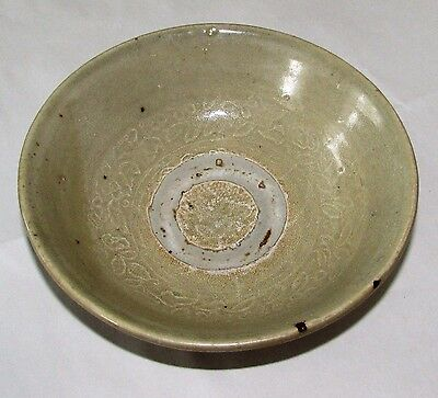 Antique Chinese Jin Dynasty Tomb Burial Pottery Yue Ware Bowl C. 265 - 420