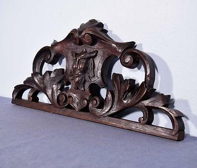 """*26"""" French Antique Pediment/Crest in Solid Oak Wood with Face"""