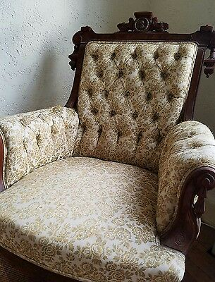 Antique Parlor Chair Ornate Carved Wood  Beige With Gold Embroidered Upholstery