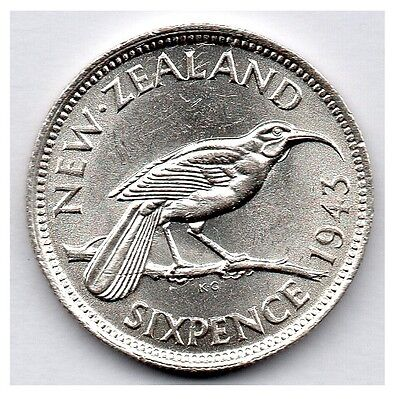 New Zealand 6 Pence 1943 (Sixpence) (50.0% Silver) Coin