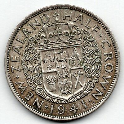 New Zealand 1/2 Crown 1941 (Half Crown) (50.0% Silver) Coin
