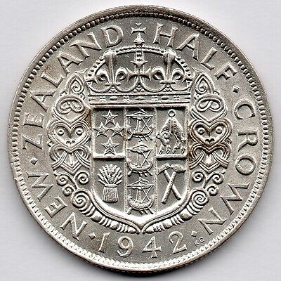 New Zealand 1/2 Crown 1942 (Half Crown) (50.0% Silver) Coin