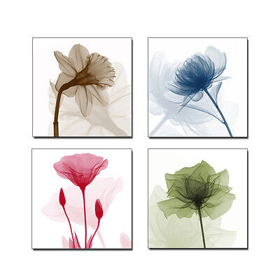 Modern Abstract HD Canvas Prints Artwork Wall Art Home Decor Flowers 4PCS Framed