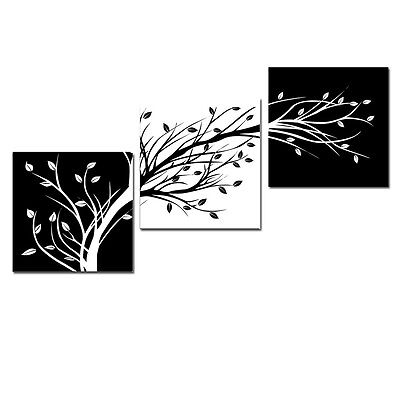 Modern Canvas Print Home Decor Wall Art Trees Black White Abstract 3PCS Framed