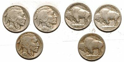 3 Buffalo Nickels   1936-P , 1936-D , 1936-S #662