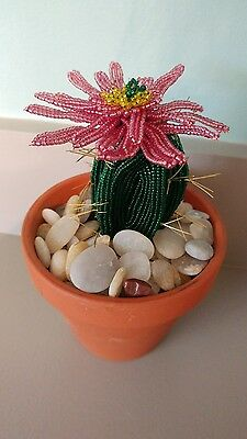 Handmade french beaded Flower Cactus Cacti plant with pink flower in Clay pot