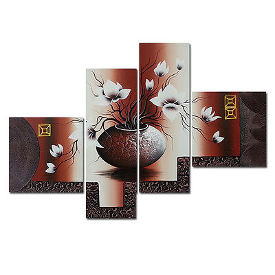 Hand Paint Canvas Oil Paintings Abstract Wall Art Home Decor Flower Brown Framed