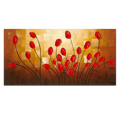 "Hand Paint Oil Painting Modern Original Home Art Decor Flowers 20""x40"" Framed"