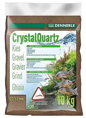 Dennerle Crystal Quartz Gravel Dark Brown 10kg Inert for Aquarium Fish Tank