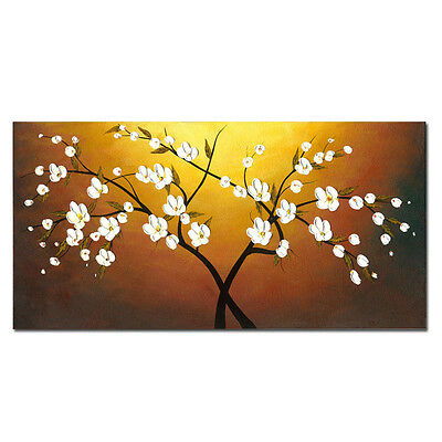 Modern Hand Painted Oil Painting Home Canvas Art Decor Flower Tree Framed 20x40""