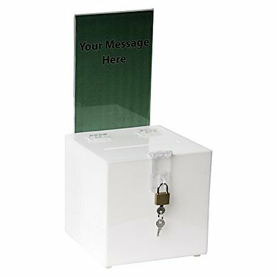 Clear-Ad - SBB-66-H-WHT - Acrylic Ballot Box with Lock and Sign Holder - Best...