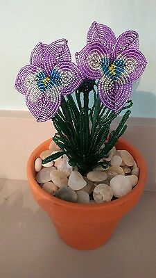 Handmade french beaded Flower Pansy plant in Clay pot purple and blue flowers