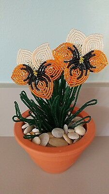Handmade french beaded Flower Pansy plant in Clay pot orange and cream flowers