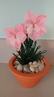 Handmade french beaded Flower Pansy plant in Clay pot neon pink & white flowers