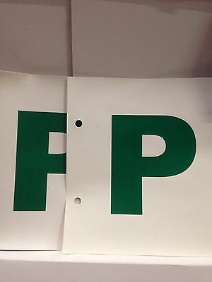 Green P Plate Stick On / Tie On 1Pair