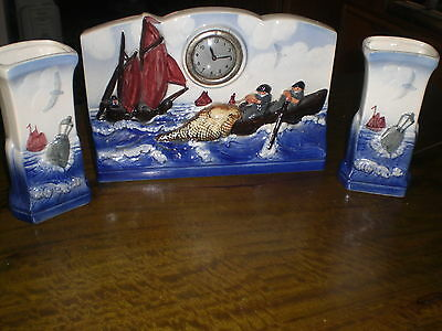 Sarrguemines French Art Deco Hand Painted Fishermen Mantle Clock With Garnitures
