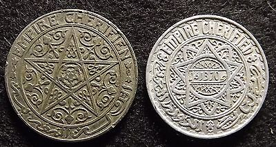 MOROCCO 1 Franc ND (1921) & 5 Francs 1951 - 2 Very Fine Coins (#767)