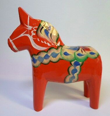 """Vintage SWEDISH RED DALA HORSE Hand Carved & Painted 4"""" Tall Made In Sweden"""