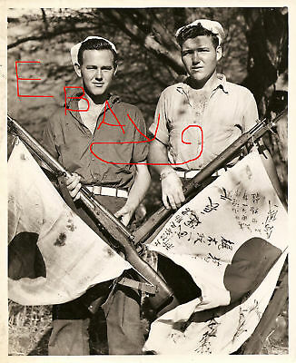 Wwii Huge Photograph 16X20 Uscg Sailors Capture Japanese Flag Philippines Look