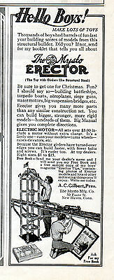1914  Mysto Toys Ad --( A.C. Gilbert, Pres.)--Erector Set with Motor---j818
