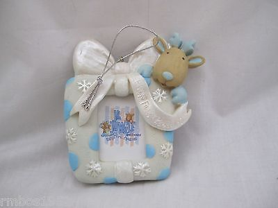 Polystone Ornament OR Photo Frame Boy Baby's First Christmas NEW in Box Blue