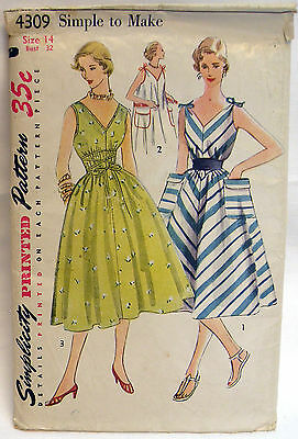 Vintage 1950s Simplicity 4309 Tent Dress Pattern  Size 14  Bust 32  Unused