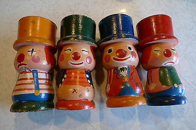 Vintage Hand Painted 4 Wooden Happy & Sad Clown Egg Cups
