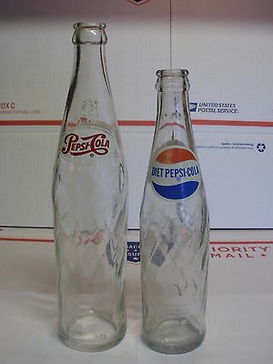 Nice 2 Vintage Pepsi - Cola Pepsi Swirl Style Clear Acl Graphics Soda Bottles