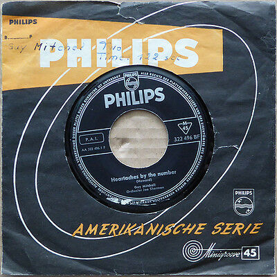 "7"" Guy Mitchell - Heartaches By The Number - Deutschland 1959 - VG+(+) to VG++"