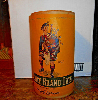 Antique Advertising Scotch Brand Oats 3 Lb. Oatmeal Box With Scotsman Scarce Nr