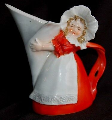 Royal Bayreuth Figural Pitcher Creamer Girl Holding Pitcher Twisted Handle