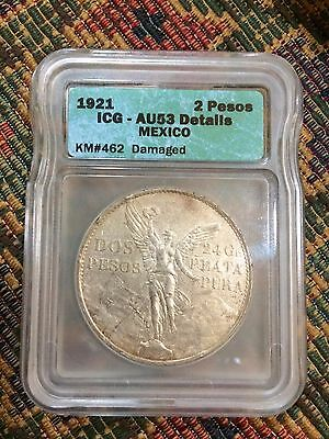 Mexico - 1921 - Silver 2 Pesos - ICG AU 53 Details - Scarce One Year Type