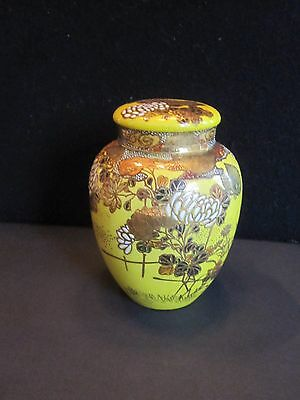 Beautiful Antique Japanese Satsuma Moriage Porcelain Tea Caddy Unusual Yellow