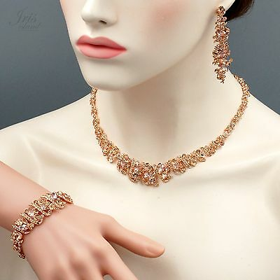 Rose Gold Plated Crystal Necklace Earrings Bracelet Wedding
