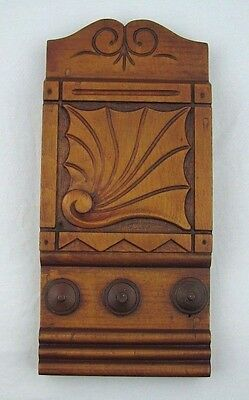 Antique Carved Wood Trim Architectural Plinth Salvaged Square Nail Wall Hanging