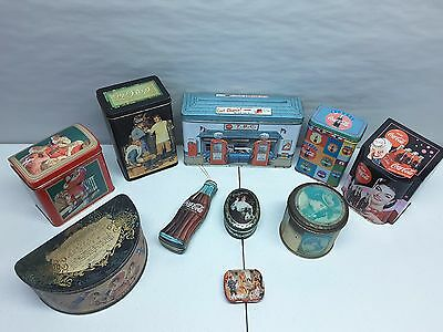 Coke Coca-Cola Lot of 10 Tin Collectible Containers Vintage Advertising Lot B
