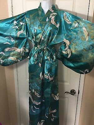 Japanese Kimono with Red Crowned Crane Flying