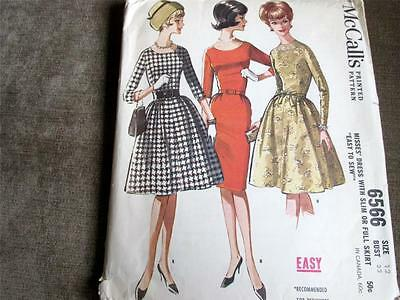 McCALL'S VINTAGE 1962  DRESS  PATTERN #6566   SIZE 12  COMPLETE