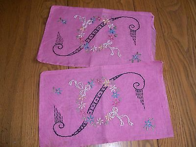 "2 ANTIQUE ORGANDY BOUDOIR PILLOW COVERS OR SHAMS ~ HAND EMBROIDERED ~ 9""x15"""