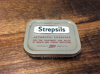 BRT Vintage Strepsils Australian Throat Lozenges Tin Boots Pure Drug Co.