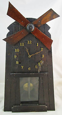 Antique Gilbert Eight day Windmill clock Arts and Crafts/ Mission AS-IS