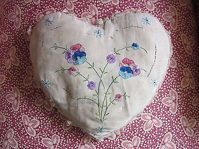 Antique True Edwardian Hand-Embroidered Heart Pillow w/Lace, Romantic Vintage