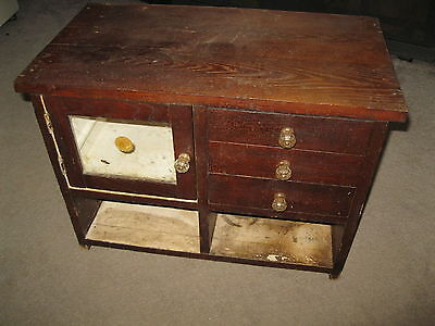 Antique wood doctor of pharmacy office medical cabinet medicine chest