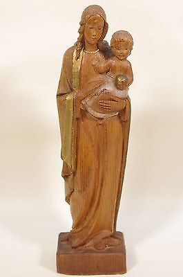 """Vintage Carved Wood Statue of Mary and Jesus 8 1/4""""H"""