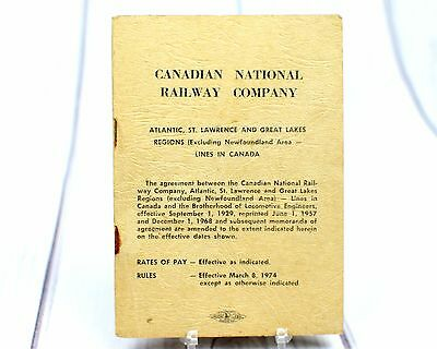 CN Canadian National Railway Employee Agreement Rules Rates of Pay 1970s Booklet