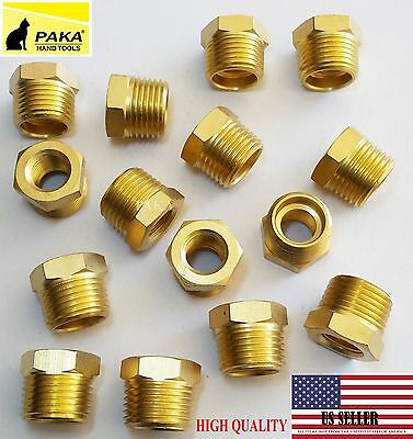 "5 PC 1/2"" Male x 1/4"" Female NPT  Pipe reducer Hex Bushing adapter Brass Fitting"