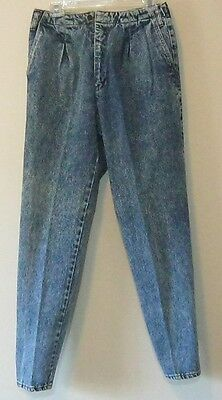 Vintage 1980s Acid Wash High Waist Pleated Tapered Leg Jeans Junior 13 Sostanza