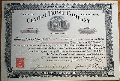 Doylestown, PA Bank 1915 Stock Certificate: Central Trust Company - Pennsylvania