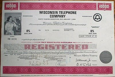 Wisconsin Bell Telephone Company 1974 $10,000 Stock/Bond Certificate - WI Wis