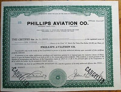 'Phillips Aviation Company' 1939 Stock Certificate - California CA